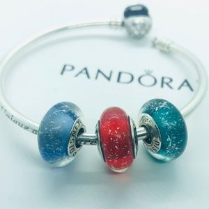 PANDORA Disney Princess Glow Murano Bead Set, New!